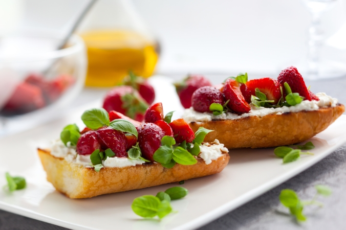 Strawberry bruschetta with goat cheese,basil and balsamic vinega
